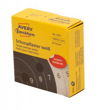 Avery Zweckform No. 3521 tekercses 19 mm átmérőjű fehér öntapadó céltábla jelölőcímke - 1000 címke / tekercs (Avery 3521)