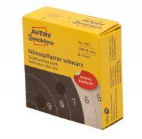 Avery Zweckform No. 3522 tekercses 19 mm átmérőjű fekete öntapadó céltábla jelölőcímke - 1000 címke / tekercs (Avery 3522)