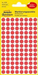 Avery Zweckform 8 mm átmérőjű öntapadó piros színű jelölő címke, jelölő pötty, jelölő pont
