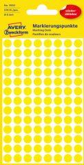 Avery Zweckform 8 mm átmérőjű öntapadó sárga színű jelölő címke, jelölő pötty, jelölő pont