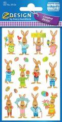 Avery Zweckform Z-Design No. 39156 öntapadó húsvéti papír matrica - vidám nyuszis képekkel - kiszerelés: 2 ív / csomag (Avery Z-Design 39156)