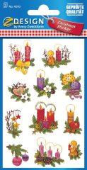 Avery Zweckform Z-Design No. 4050 karácsonyi csillogó papír matrica - díszes fenyőágak mintával - kiszerelés: 2 ív / csomag (Avery Z-Design 4050)
