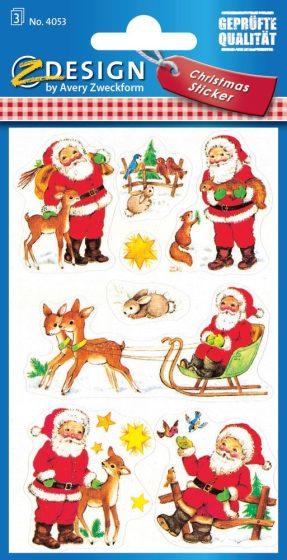 Avery Zweckform Z-Design No. 4053 karácsonyi papír matrica - Mikulás, szán és állatkák motívumokkal - kiszerelés: 3 ív / csomag (Avery Z-Design 4053)