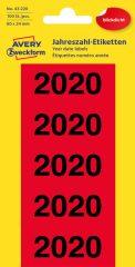 Avery Zweckform No. 43-220 előre nyomtatott 26 x 60 mm méretű, piros színű öntapadó etikett címke 2020-as évszámmal - 100 címke / csomag - 20 ív / csomag (Avery 43-220)