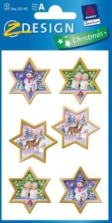 Avery Zweckform Z-Design No. 52143 karácsonyi aranyozott papír matrica - arany keretes téli tájak motívumokkal - kiszerelés: 2 ív / csomag (Avery Z-Design 52143)