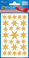 Avery Zweckform Z-Design No. 52252 karácsonyi átlátszó matrica - arany színű csillagok mintával - kiszerelés: 2 ív / csomag (Avery Z-Design 52252)
