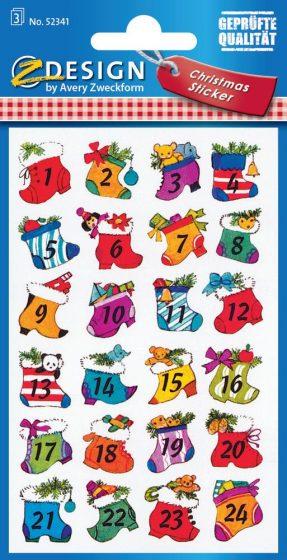 Avery Zweckform Z-Design No. 52341 karácsonyi papír matrica - Adventi ajándékcsomagok - kiszerelés: 3 ív / csomag (Avery Z-Design 52341)
