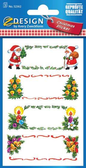 Avery Zweckform Z-Design No. 52362 karácsonyi papír matrica - Mikulás, fagyöngy és fenyő mintával - kiszerelés: 3 ív / csomag (Avery Z-Design 52362)