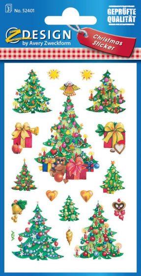 Avery Zweckform Z-Design No. 52401 karácsonyi papír matrica - feldíszített karácsonyfa motívumokkal - kiszerelés: 3 ív / csomag (Avery Z-Design 52401)