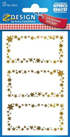 Avery Zweckform Z-Design No. 52622 karácsonyi aranyozott papír matrica - arany keretes díszes ajándékkísérő - kiszerelés: 2 ív / csomag (Avery Z-Design 52622)