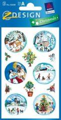 Avery Zweckform Z-Design No. 52658 karácsonyi csillogó papír matrica - téli karácsonyi táj motívumokkal - kiszerelés: 2 ív / csomag (Avery Z-Design 52658)