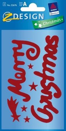 """Avery Zweckform Z-Design No. 52676 karácsonyi bársony matrica - """"Merry Christmas"""" felirattal - kiszerelés: 1 ív / csomag (Avery Z-Design 52676)"""