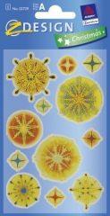 Avery Zweckform Z-Design No. 52729 karácsonyi átlátszó csillogó matrica - színes jégcsillagok motívumokkal - kiszerelés: 1 ív / csomag (Avery Z-Design 52729)