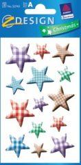 Avery Zweckform Z-Design No. 52743 karácsonyi papír matrica - színes kockás mintás csillagok mintával - kiszerelés: 3 ív / csomag (Avery Z-Design 52743)