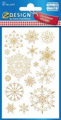 Avery Zweckform Z-Design No. 52757 karácsonyi aranyozott papír matrica - jégcsillag motívumokkal - kiszerelés: 2 ív / csomag (Avery Z-Design 52757)