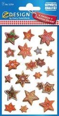 Avery Zweckform Z-Design No. 52759 karácsonyi aranyozott papír matrica - dombornyomással, csillagok mintával - kiszerelés: 1 ív / csomag (Avery Z-Design 52759)