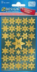 Avery Zweckform Z-Design No. 52809 magasfényű, öntapadó fólia matrica - arany színű csillagokkal - kiszerelés: 2 ív / csomag (Avery Z-Design 52809)