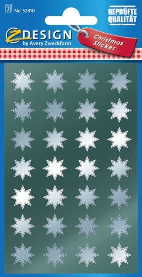 Avery Zweckform Z-Design No. 52810 magasfényű, öntapadó fólia matrica - ezüst színű csillagokkal - kiszerelés: 2 ív / csomag (Avery Z-Design 52810)