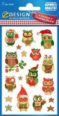 Avery Zweckform Z-Design No. 52818 aranyozott, dombornyomott, öntapadó papír matrica - karácsonyi díszbe öltözött bagoly - kiszerelés: 1 ív / csomag (Avery Z-Design 52818)