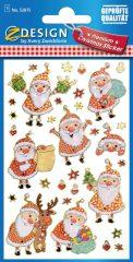 Avery Zweckform Z-Design No. 52875 öntapadó karácsonyi fólia matrica - vidám télapók motívumokkal - kiszerelés: 1 ív / csomag (Avery Z-Design 52875)
