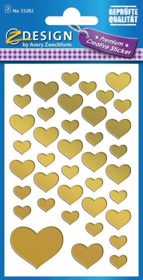 Avery Zweckform Z-Design No. 53282 átlátszó fólia matrica - arany szívek mintával - kiszerelés: 2 ív / csomag (Avery Z-Design 53282)