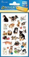 Avery Zweckform Z-Design No. 53487 papír matrica kölyök macska és kutya motívumokkal - 3 ív / csomag (Avery Z-Design 53487)
