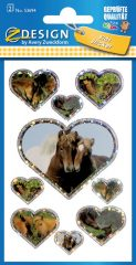Avery Zweckform Z-Design No. 53694 fémes felületű matrica ló és szív motívumokkal - 2 ív / csomag (Avery Z-Design 53694)