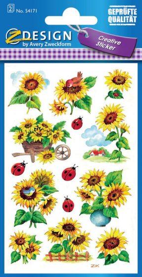 Avery Zweckform Z-Design No. 54171 csillogó, öntapadó papír matrica - napraforgó, katica és madár motívumokkal - kiszerelés: 2 ív / csomag (Avery Z-Design 54171)