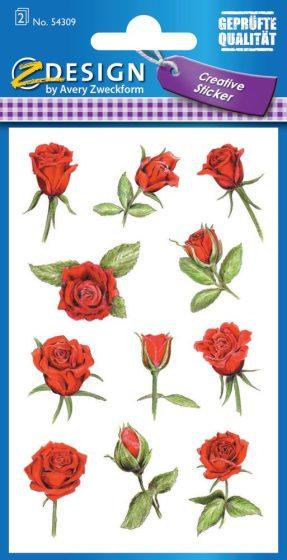Avery Zweckform Z-Design No. 54309 csillogó, öntapadó papír matrica - piros színű rózsa motívumokkal - kiszerelés: 2 ív / csomag (Avery Z-Design 54309)