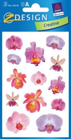 Avery Zweckform Z-Design No. 54318 öntapadó papír matrica - lila virágok motívumokkal - kiszerelés: 3 ív / csomag (Avery Z-Design 54318)