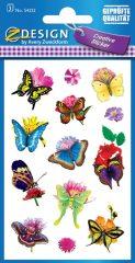 Avery Zweckform Z-Design No. 54322 öntapadó papír matrica - virágok és lepkék mintával - kiszerelés: 3 ív / csomag (Avery Z-Design 54322)