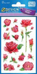 Avery Zweckform Z-Design No. 54337 öntapadó papír matrica - piros színű rózsák mintával - kiszerelés: 3 ív / csomag (Avery Z-Design 54337)