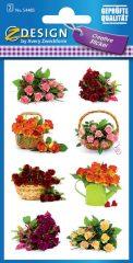Avery Zweckform Z-Design No. 54485 öntapadó papír matrica - színes virágcsokrok motívumokkal - kiszerelés: 2 ív / csomag (Avery Z-Design 54485)
