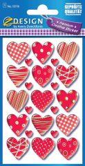 Avery Zweckform Z-Design No. 55178 magasfényű, öntapadó papír matrica - mintás szívek motívumokkal - kiszerelés: 1 ív / csomag (Avery Z-Design 55178)