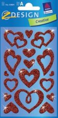 Avery Zweckform Z-Design No. 55804 csillogó varázslatos matrica - különböző szívek mintával - kiszerelés: 1 ív / csomag (Avery Z-Design 55804)