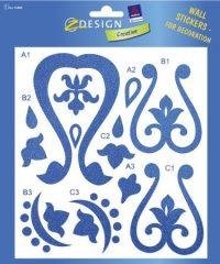 Avery Zweckform Z-Design No. 55888 átlátszó matrica falak, szobák, bútorok díszítésére - kék színű motívumokkal - kiszerelés: 1 ív / csomag (Avery Z-Design 55888)