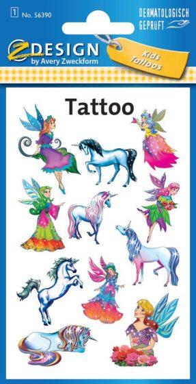 Avery Zweckform Z-Design No. 56390 öntapadó tetoválás matrica tündérek és unikornisok motívumokkal.