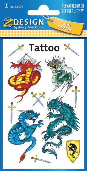 Avery Zweckform Z-Design No. 56404 öntapadó tetoválás matrica sárkányok és kardok motívumokkal.