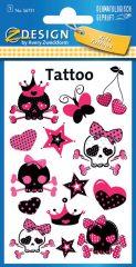 Avery Zweckform Z-Design No. 56731 öntapadó tetoválás matrica rózsaszínű koponyák motívumokkal.