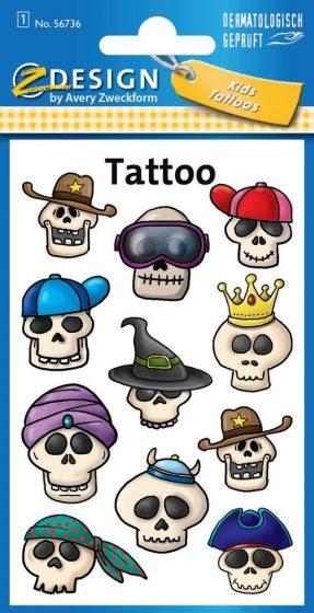 Avery Zweckform Z-Design No. 56736 öntapadó tetoválás matrica vicces koponyák motívumokkal.