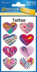 Avery Zweckform Z-Design No. 56741 öntapadó tetoválás matrica színes szívek motívumokkal.
