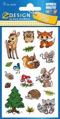 Avery Zweckform Z-Design No. 56792 öntapadó fémhatású matrica erdei állatok képekkel.