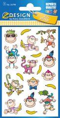 Avery Zweckform Z-Design No. 56798 öntapadó fémhatású matrica vicces majmocskák képekkel.