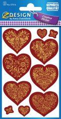 Avery Zweckform Z-Design No. 57516 dombornyomott, öntapadó papír matrica - mintás szívek motívumokkal - kiszerelés: 1 ív / csomag (Avery Z-Design 57516)