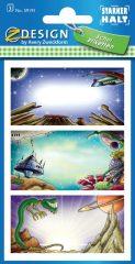 Avery Zweckform Z-Design No. 59191 papír matrica iskolai füzetekre - űrbéli tájak motívumokkal - kiszerelés: 3 ív / csomag (Avery Z-Design 59191)