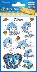Avery Zweckform Z-Design No. 59254 sötétben világító,  öntapadó matrica - delfines képekkel - kiszerelés: 1 ív / csomag (Avery Z-Design 59254)
