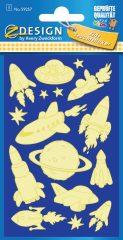 Avery Zweckform Z-Design No. 59257 sötétben világító,  öntapadó matrica - űrhajók motívumokkal - kiszerelés: 1 ív / csomag (Avery Z-Design 59257)