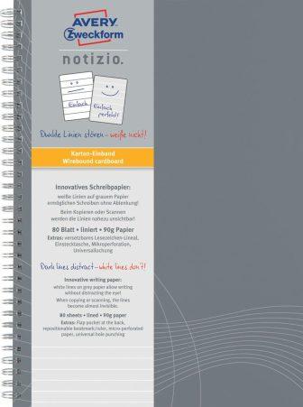 Avery Zweckform Notizio No. 7012 vonalas spirálfüzet A4-es méretben, világosszürke színű karton borítóval (Avery 7012)
