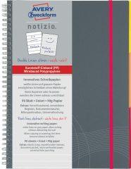 Avery Zweckform Notizio No. 7014 vonalas spirálfüzet A5-ös méretben, szürke színű műanyag borítóval (Avery 7014)