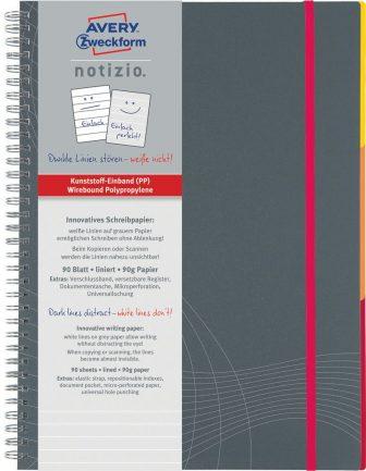Avery Zweckform Notizio No. 7016 vonalas spirálfüzet A4-es méretben, szürke színű műanyag borítóval (Avery 7016)